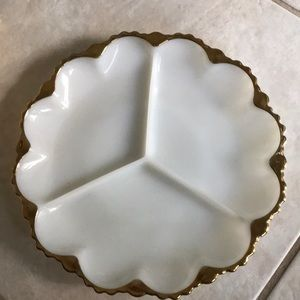 Vintage White milk glass serving tray w gold trim.